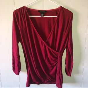 White House Black Market Red Wrap Blouse
